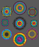 Abstrakcjonistyczna grungy barwiona dekoracyjna kształt odznaka Zdjęcie Stock