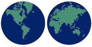 Abstrakcjonistyczna hemisfery mapa świat z zielonymi kropkami ilustracji