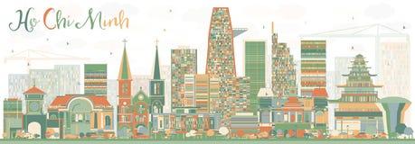 Abstrakcjonistyczna Ho Chi Minh linia horyzontu z kolorów budynkami royalty ilustracja