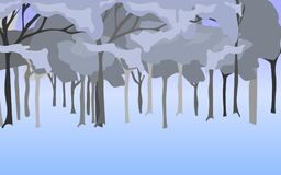 Abstrakcjonistyczna ilustracja błękitny popielaty las obrazy stock