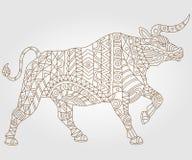 Abstrakcjonistyczna ilustracja byka kontur, konturowy zmrok na lekkim tle Fotografia Stock