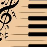 Abstrakcjonistyczna ilustracja czarni pianino klucze z muzykalnymi notatkami zdjęcie stock