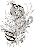 Abstrakcjonistyczna ilustracja pawia piórko w doodle stylu royalty ilustracja
