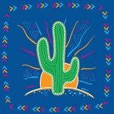 Abstrakcjonistyczna ilustracja wielki Meksykański kaktus Zdjęcia Royalty Free