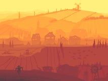 Abstrakcjonistyczna ilustracja wioska w zmierzchu. Ilustracja Wektor