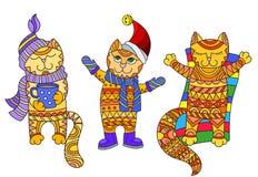 Abstrakcjonistyczna ilustracja z śmiesznymi kreskówka kotami ubierał w różnych sezonach jesień, zima i lato odizolowywający na bi Fotografia Royalty Free