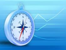 Abstrakcjonistyczna ilustracja z kompasem i niebieskimi liniami Zdjęcie Royalty Free