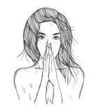 Abstrakcjonistyczna ilustracyjna kobieta ono modli się Obrazy Stock