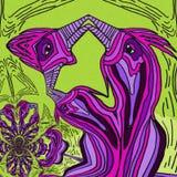Abstrakcjonistyczna inspiracja w ptakach Fiołkowi i zieleni kolory ilustracja wektor
