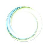Abstrakcjonistyczna jaskrawa błękitna zieleń iryzuje okręgu loga royalty ilustracja