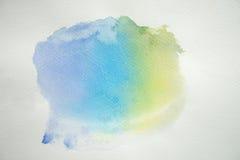 Abstrakcjonistyczna kolorowa akwarela na białego papieru tle Obrazy Stock