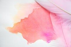 Abstrakcjonistyczna kolorowa akwarela na białym papierze z piórkami Fotografia Stock
