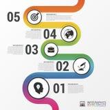 Abstrakcjonistyczna kolorowa biznesowa ścieżka Linia czasu infographic szablon Zdjęcie Royalty Free