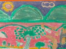 Abstrakcjonistyczna kolorowa graffiti sztuki ściana robić niewiadomym artystą na th Fotografia Stock