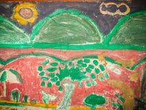 Abstrakcjonistyczna kolorowa graffiti sztuki ściana robić niewiadomym artystą na th Obrazy Stock