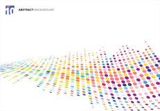 Abstrakcjonistyczna kolorowa halftone tekstury fala kropek wzoru perspektywa ilustracji
