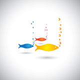 Abstrakcjonistyczna kolorowa ryba z bąblami w morzu lub aqua Fotografia Stock