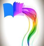 Abstrakcjonistyczna kolorowa tło książki ikona i fala Fotografia Stock