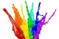 Abstrakcjonistyczna koloru pluśnięcia tęcza Obraz Stock