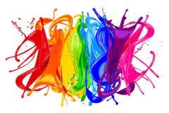 Abstrakcjonistyczna koloru pluśnięcia tęcza Fotografia Stock