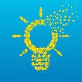 Abstrakcjonistyczna kreatywnie pojęcie ikona żarówka dla sieci i wiszącej ozdoby zastosowań odizolowywających na tle Sztuka ilust Zdjęcie Stock