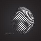 Abstrakcjonistyczna kula ziemska kropkująca sfera, 3d halftone kropki skutek Biały colo Obrazy Stock