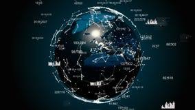 Abstrakcjonistyczna kula ziemska z plexus Ziemia okrywa w technologiach cyfrowych royalty ilustracja