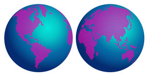 Abstrakcjonistyczna kuli ziemskiej mapa świat z menchiami kwitnie kropki ilustracja wektor