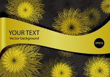 Abstrakcjonistyczna kwiatu złota rama na czarnym Wektorowym tle Obraz Stock