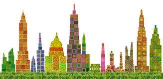 Abstrakcjonistyczna kwiecista miasto linia horyzontu Zdjęcie Stock