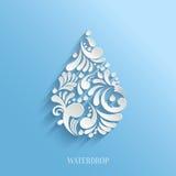 Abstrakcjonistyczna Kwiecista wody kropla na Błękitnym tle Fotografia Royalty Free