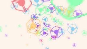 Abstrakcjonistyczna latająca kolorowa jarzeniowa sześcian cząsteczek animacja ilustracja wektor