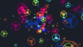 Abstrakcjonistyczna latająca kolorowa jarzeniowa sześcian cząsteczek animacja royalty ilustracja