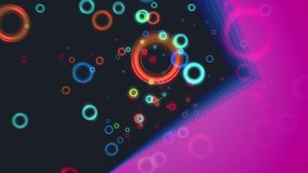 Abstrakcjonistyczna latająca kolorowa okrąg cząsteczek animacja z diagonalną purpurową bryłą ilustracji