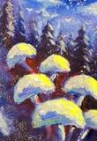Abstrakcjonistyczna magia ono rozrasta się na zimy błękita tle Las świerkowi drzewa Snowing oryginalny obraz olejny impresjonista royalty ilustracja
