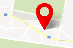 Abstrakcjonistyczna mapa i czerwony mapa markier Obraz Stock