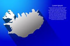 Abstrakcjonistyczna mapa Iceland z długim cieniem na błękitnym tle, ilustracja Zdjęcia Royalty Free