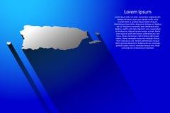 Abstrakcjonistyczna mapa Puerto Rico z długim cieniem na błękitnym tle, ilustracja Fotografia Stock