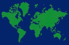 Abstrakcjonistyczna mapa świat z zielonymi kropkami ilustracji