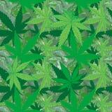 Abstrakcjonistyczna marihuana na marmurowego tła bezszwowym wzorze Fotografia Stock