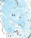 abstrakcjonistyczna marmurowa tekstura Papier i mieszanka bieżący atrament Pastelowa błękitna, czarny i biały kolor mieszanka, Fotografia Stock