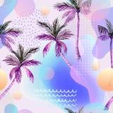 Abstrakcjonistyczna miękka gradientowa plama, kolorowy fluid i geometryczni kształty, akwareli palmy rysunek Zdjęcia Royalty Free