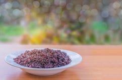 Abstrakcjonistyczna miękka zamazana i miękka ostrości czerni kleistych ryż jagoda na talerzu z bokeh, promienia światło, obiektyw Zdjęcia Royalty Free