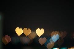 Abstrakcjonistyczna miłość lub kierowy kształta bokeh tło Kuala Lumpur Zdjęcie Stock
