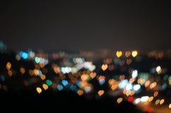 Abstrakcjonistyczna miłość lub kierowy kształta bokeh tło Kuala Lumpur Zdjęcia Royalty Free
