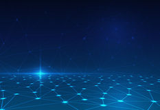 Abstrakcjonistyczna molekuła na zmroku - błękitny tło sieć dla futurystycznego technologii pojęcia