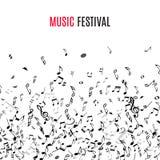 Abstrakcjonistyczna musical rama, granica z czerni notatkami na białym tle i ilustracja wektor