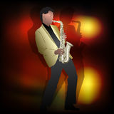 Abstrakcjonistyczna muzyczna ilustracja z saksofonowym graczem Obrazy Stock