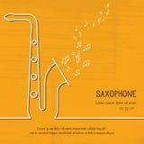 Abstrakcjonistyczna muzyczna saksofon pokrywa Graficzna wektorowa plakatowa ilustracja Nowożytny śliczny karty linii tło Rozsądny Zdjęcie Stock