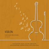 Abstrakcjonistyczna muzyczna skrzypce pokrywa Graficzna wektorowa plakatowa ilustracja Nowożytny śliczny karty linii tło Rozsądny ilustracji